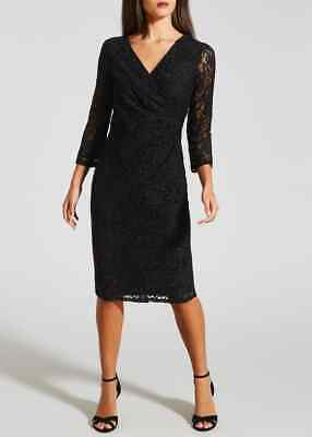 BNWT Black Sparkle Glitter Lace Wrap 3/4 Sleeve Dress Occasion Party (QF)