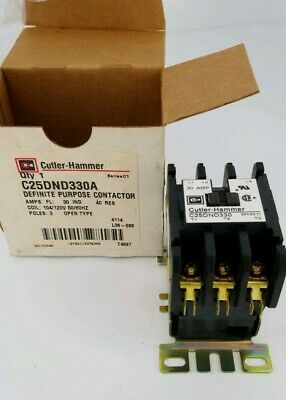 New Eaton C25dnd330a Contactor Definite Purpose 3p 30a 110-120vac Nib