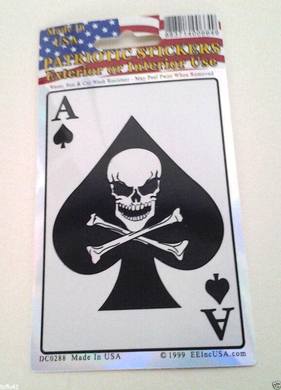 ACE OF SPADES SKULL & BONES DEATH CARD Biker Window Sticker DC0288 EE