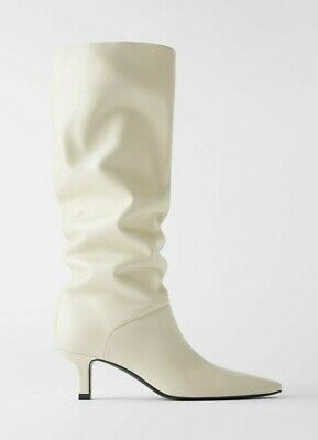 ZARA SOFT LEATHER HEELED BOOTS WITH SQUARE TOE 35-42 REF.1007/510