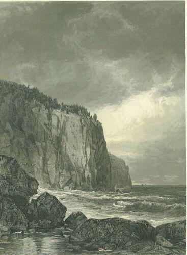 Lake Superior, Baptism Bay North Shore Minnesota  1874  antique engraving
