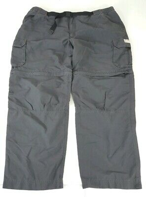 4ed02fb36b Eddie Bauer Mens Belted Convertible Cargo Pants/Shorts Gray Hiking XXL