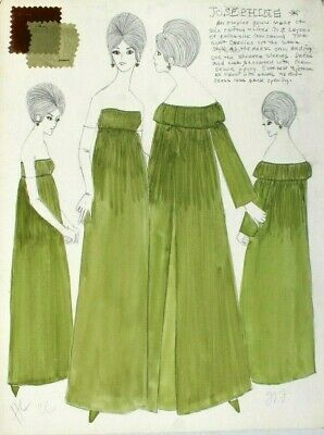 Vtg 1963 Retro MCM Fashion Designer Presentation (Mood) Sketch Board (18 of 40) (Fashion Designer Sketches)