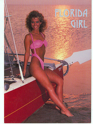 FLORIDA BLONDE BY HER SAILBOAT IN HER PINK BIKINI ON  POSTCARD(SW299*)