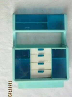 Vintage Barbie Dream House Blue Dining Room Hutch Cabinet Unit Complete 1978
