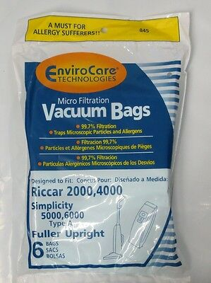 12 Riccar Type A Vacuum Bags for 2000, 4000 Simplicity 5000, 6000