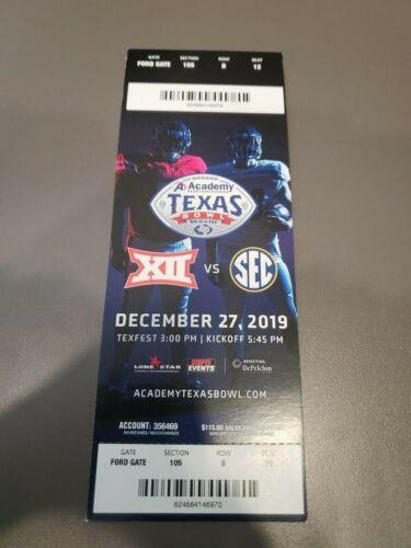 Texas Bowl MINT Season Ticket 12/27/19 Texas A&M Oklahoma State 2019 NCAA Stub