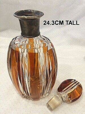 🌟 1938 DANISH HALLMARKED SILVER COLLAR 24CM HUGE PERFUME BOTTLE AMBER GLASS