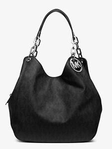 Michael-Kors-Tasche-Bag-Fulton-LG-Shoulder-Tote-HOBO-Sig-Logo-Schwarz-Silber-NEU