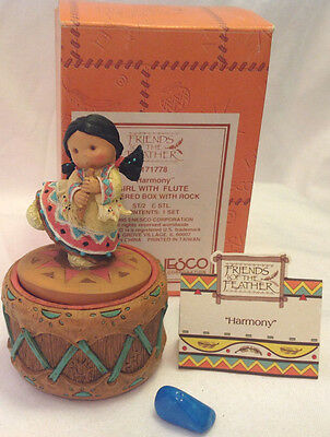 ENESCO FRIENDS OF FEATHER HARMONY  COVERED TRINKET BOX W/ ROCK FIGURINE