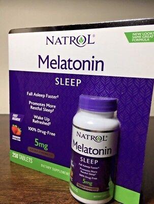 Natrol MELATONIN 5mg, 250 Fast Dissolve Tablets *Sleep Aid, Strawberry Flavor*