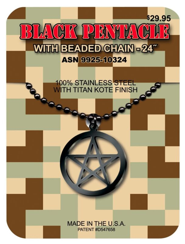 GI JEWELRY - U.S Military, BLACK PENTACLE PENDANT Titan Kote Subdued Finish