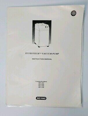 Bio-rad Hydrotech Vacuum Pump Instruction Manual Only