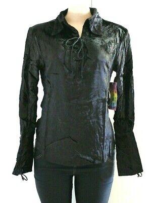 Women Ladies Black Velour Top Velvet Long Sleeves Tie Blouse