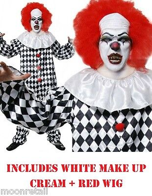 Scary Evil Clown Costume Halloween Fancy Dress Outfit Adult Mens