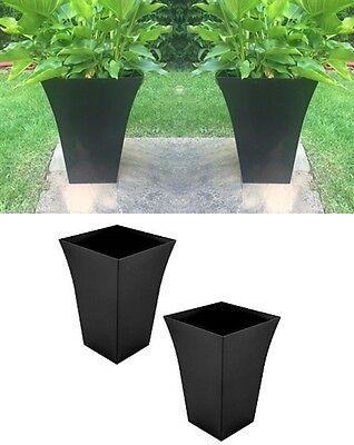 X2 BLACK Large Milano Tall Planter Square Plastic Garden Flower Plant Pots