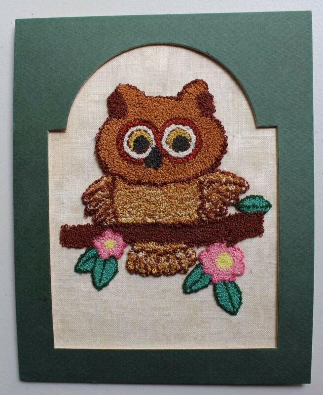 Vintage Owl with Flowers Punch Embroidery Completed Finished