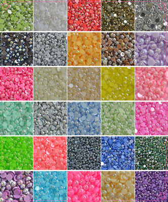 - 2-8mm AB color Half Pearl Round Bead Flat Back Scrapbook for Craft FlatBack #03