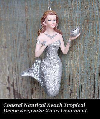 silver Mermaid Coastal Nautical Beach Tropical Decor Keepsake Xmas Ornament](Beach Christmas Decorations)