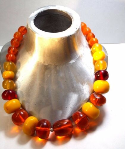 VINTAGE ANTIQUE AFRICAN AMBER  COPAL LARGE BEAD  NECKLACE/EGG YOLK