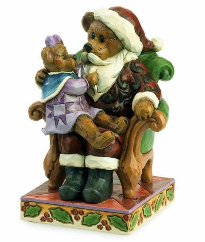 "JIM SHORE BOYDS BEARS ""SANTA w/ HOLLY"" CHRISTMAS WISHES 4035827 * FREE SHIPPING"