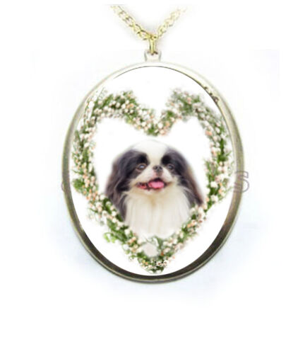 Japanese Chin Dog Lily of Valley Heart Porcelain Cameo Necklace Handmade NEW