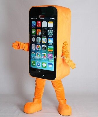 Hot New Orange Mobile advertising Cell Phone Mascot Cosplay Costume Dress - Cell Phone Costume