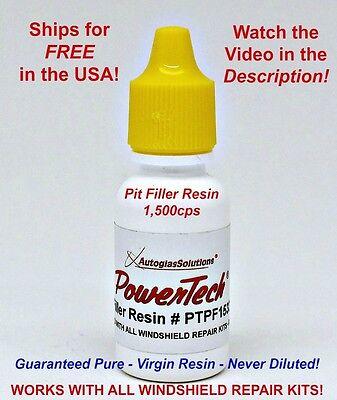 PowerTech Pit Filler Auto Glass Windshield Rock Chip UV Repair Resin .5oz 15 ml