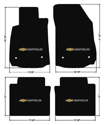 NEW BLACK Floor Mats 2014-2018 Chevy Impala Embroidered Bowtie Double Logo All 4 ()