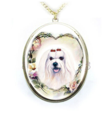 Maltese Dog Rose Heart Wreath Porcelain Cameo Necklace Handmade gold plated NEW