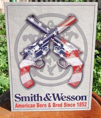 AMERICAN BORN SMITH AND WESSON REVOLVER Tin Metal Sign Wall Garage Classic