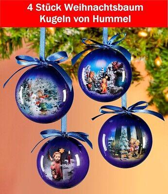 4 Stück wunderschöne Weihnachtskugeln Hummel blau Weihnachten 7 cm Baumkugeln