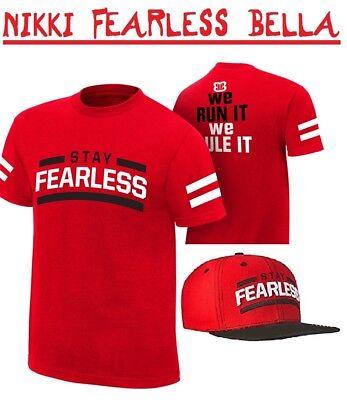 NIKKI 'STAY FEARLESS' BELLA WRESTLING WRESTLER OUTFIT FANCY DRESS T-SHIRT & CAP  ()