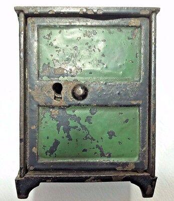 Collectible Columbia Grey Iron Pa  Safe Bank  Cast Iron Still Bank 3 1 2  Tall