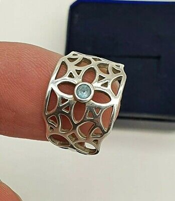 Lovely Vintage KIT HEATH Sterling Silver. Sky Blue Topaz Ring Size N