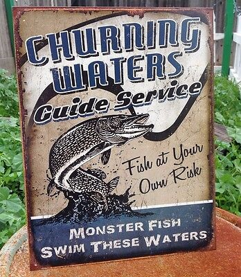 CHURNING WATERS GUIDE SERVICE Tin Sign Wall Bar Garage Decor Classic Vintage