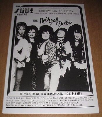 NEW YORK DOLLS CONCERT POSTER State Theater New Brunswick NJ DAVID JOHANSEN Punk