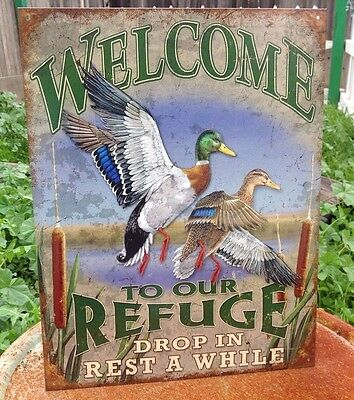 WELCOME TO OUR REFUGE DUCKS Tin Sign Wall Bar Garage Decor Classic Vintage