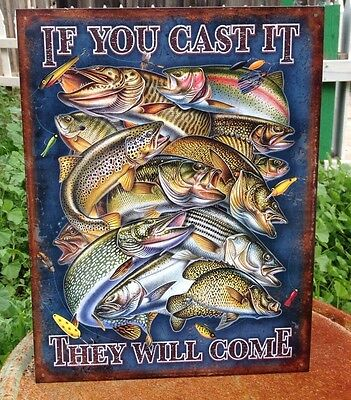 IF YOU CAST IT THEY WILL COME Tin Sign Wall Bar Garage Decor Classic Vintage