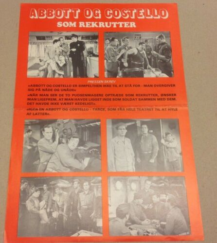 """Buck Privates"" Bud Abbott Lou Costello Vtg 1941 Danish Movie Press Release Kit"