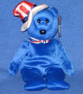 TY-SAM-BLUE-the-BEAR-BEANIE-BABY-MINT-with-MINT-TAGS