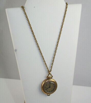 Vintage Gold Filled Ladies Pendant Watch with 15 Jewels and Chain Working