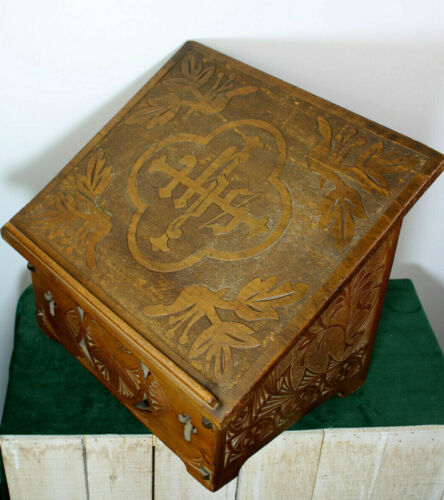 Antique Holland Frisian wood carved Lectern bible stand altar church religious