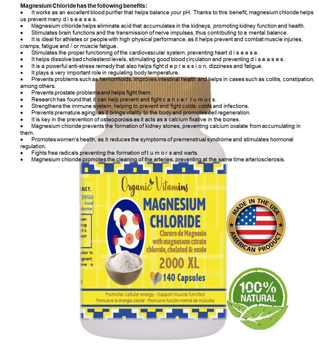 MAGNESIUM CHLORIDE MAXICLORURO 2000 140 CAPSULES CLORURO DE MAGNESIO 8