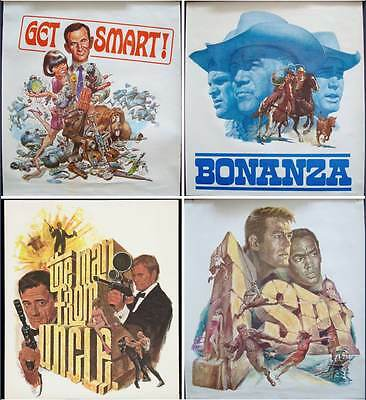 NBC 1966 x4 posters set BONANZA GET SMART I SPY MAN FROM UNCLE JACK DAVIS BAMA