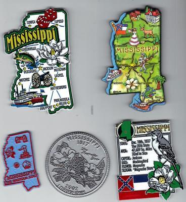 MISSISSIPPI  MAGNET ASSORTMENT 5 NEW  STATE SOUVENIRS with ARTWOOD MAP MAGNET