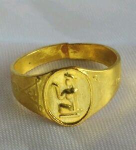 Ring Brass Nang Kwak Yant For wealth Trade Charm Success Thai Amulet Buddha # 60