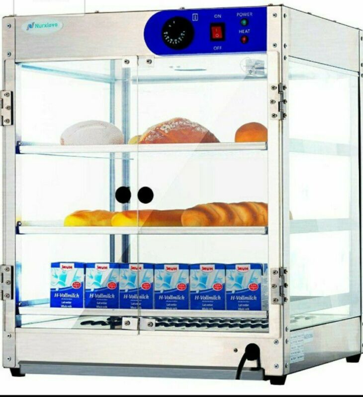 Commercial Hot Food Warmer Display Cabinet Case Pasties Pie Warming Counter Top