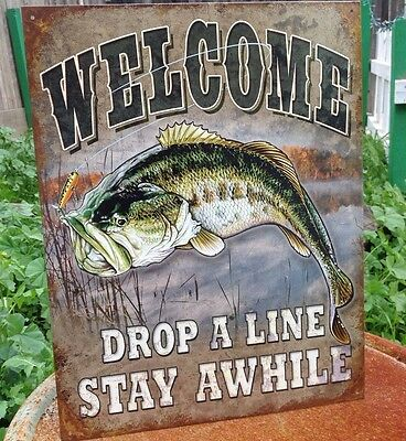 DROP A LINE STAY AWHILE WELCOME Tin Sign Wall Bar Garage Decor Classic Vintage