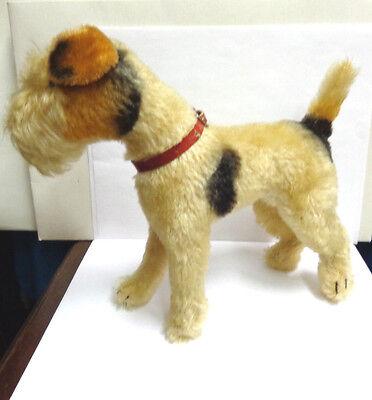 vintage steiff mohair dog terrier brown/white/ black 9 in tall red collar